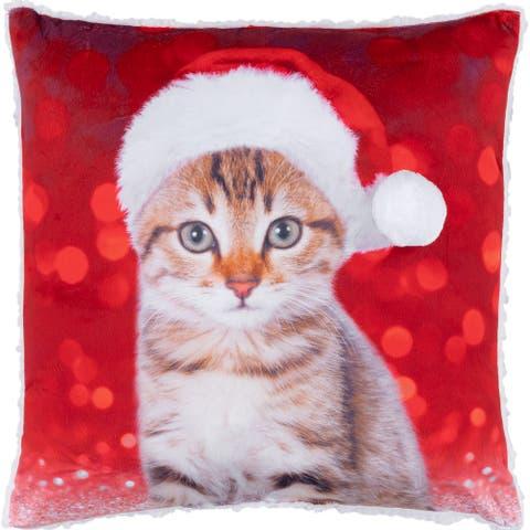 Cushion Xmas Sherpa Reversible Festive Kitty