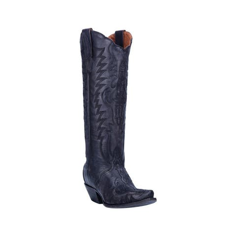 "Dan Post Western Boots Womens 16"" Shaft Hallie Snip Toe Black"