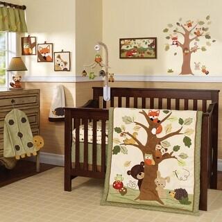 Lambs & Ivy Echo Brown/Beige/Green Woodland Forest Animals 9-Piece Baby Crib Bedding Set
