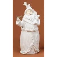 "8"" Winter's Beauty Santa Claus with Bird White Christmas Figure"