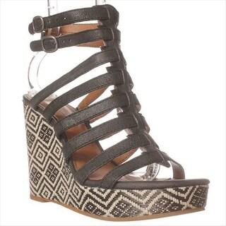 Lucky Brand Labelle Wedge Sandals - Black/black White