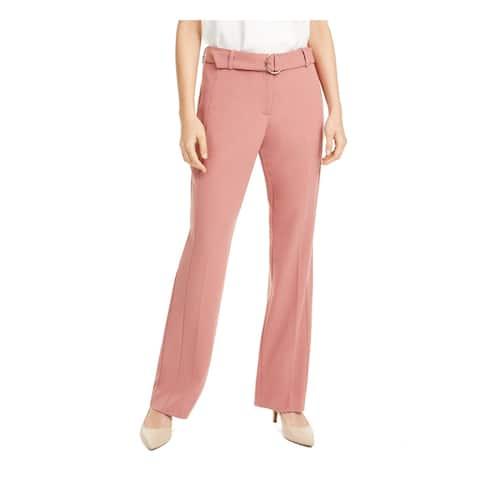 ALFANI Womens Pink Belted Straight leg Pants Size 6