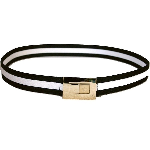 890d9d45def Shop Gucci Women s BWB Web Belt with Gold Buckle 253488 (90   36) - 90   36  - Free Shipping Today - Overstock - 27603085