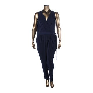Lauren Ralph Lauren Womens Plus Jumpsuit Faux Wrap Sleeveless