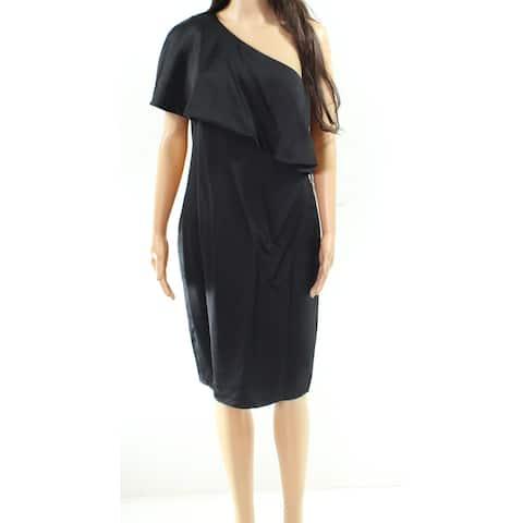 Lauren By Ralph Lauren Black Womens Size 6 One Shoulder Shift Dress