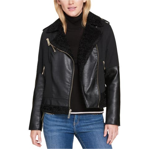 Tommy Hilfiger Womens Faux Fur Motorcycle Jacket