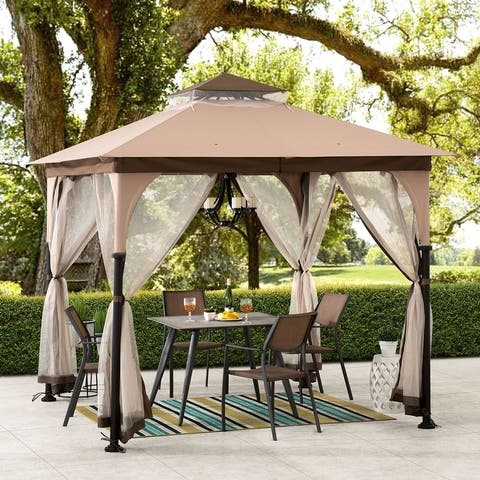Sunjoy 8 x 8 ft. Tan and Brown Steel Gazebo