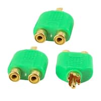 RCA Male to Dual RCA Female Stereo Audio Connector Green Gold Tone 15 Pcs