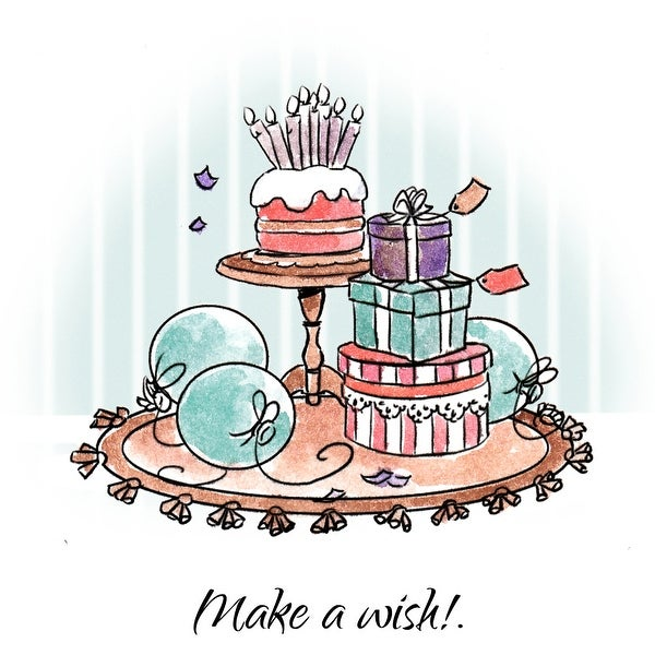 "Art Impressions Cottage Cling Rubber Stamp Set 7""X4""-Make A Wish"