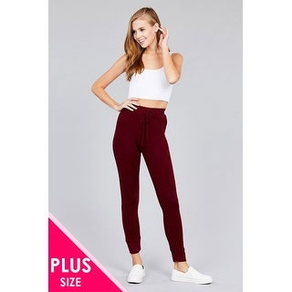 Ladies fashion plus size waist drawstring side rib detail brushed hacci pants