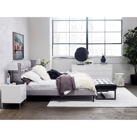 Aurelle Home Light Grey Tufted Headboard Bed