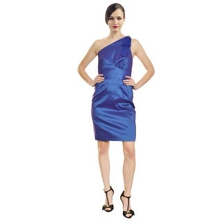 Badgley Mischka Stylish Stretch Taffeta One Shoulder Dress - 10
