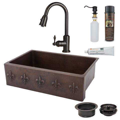 Premier Copper Products KSP2_KASDB33229F Kitchen Sink, Pull Down Faucet and Accessories Package