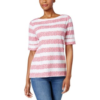 Karen Scott Womens Pullover Top Floral Print Stripe (2 options available)