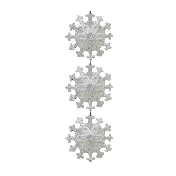 "9"" Winter Light White Glitter Snowflakes Pendant Christmas Ornament"