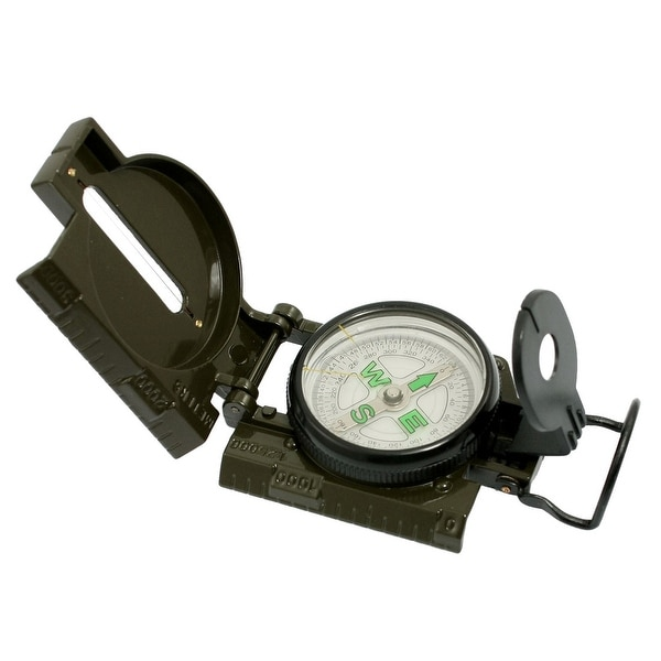 Unique Bargains Army Green Metal Multifunction Ruler Design Hiking Camping Compass