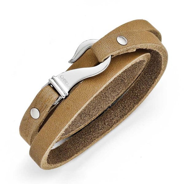 Chisel Stainless Steel Light Brown Leather Wrap Bracelet