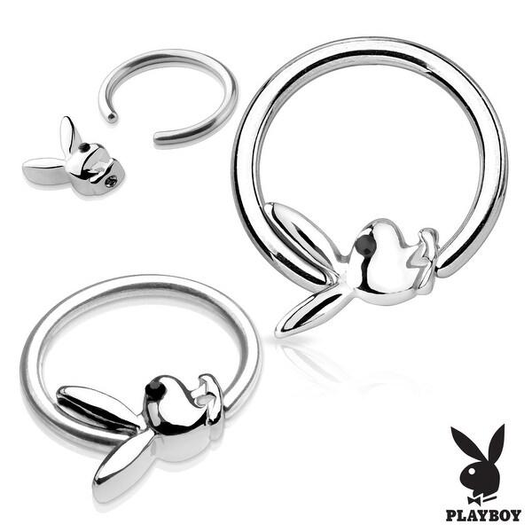 Black Gem Eye Playboy Bunny Surgical Steel Captive Hoop Ring (Sold Ind.)