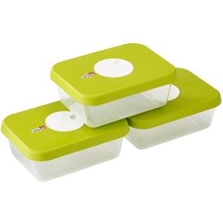 Joseph Joseph Dial Storage 3 Piece Rectangular Container Set with Datable Lid, Green