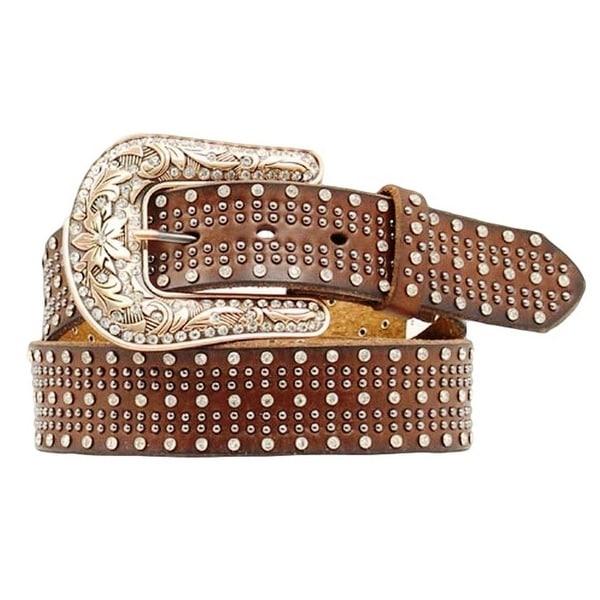 Nocona Western Belt Womens Leather Studded Crystal Mocha