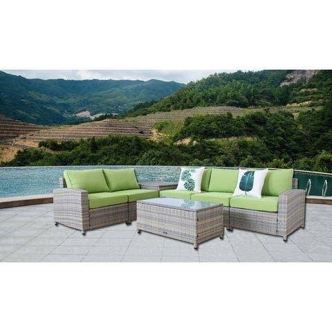 BroyerK 7-piece grey Outdoor Rattan Patio Furniture Set storage box