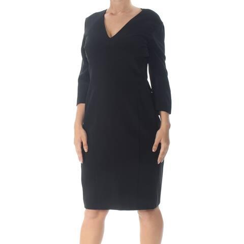 NARCISO RODRIGUEZ Black Long Sleeve Knee Length Sheath Dress Size 12