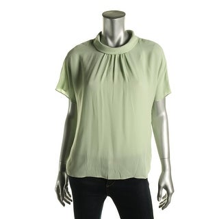 Vince Camuto Womens Blouse Mock Turtleneck Pleated