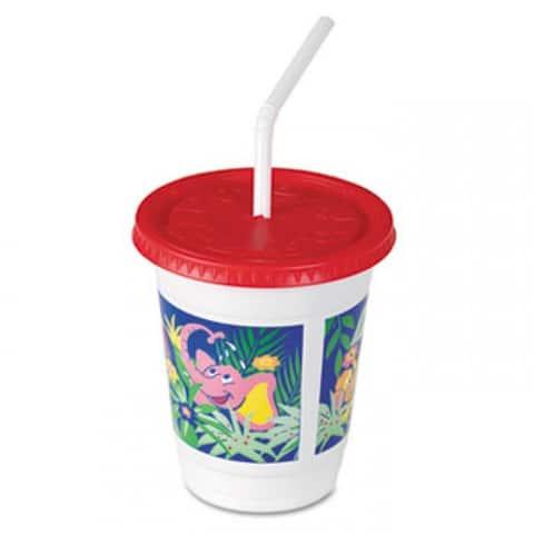 Plastic Kids' Cups With Lids/Straws, 12 Oz, Jungle Print - Clear