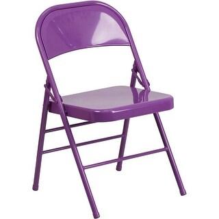 Rivera Metal Folding Chair, Purple, Triple Braced Frame