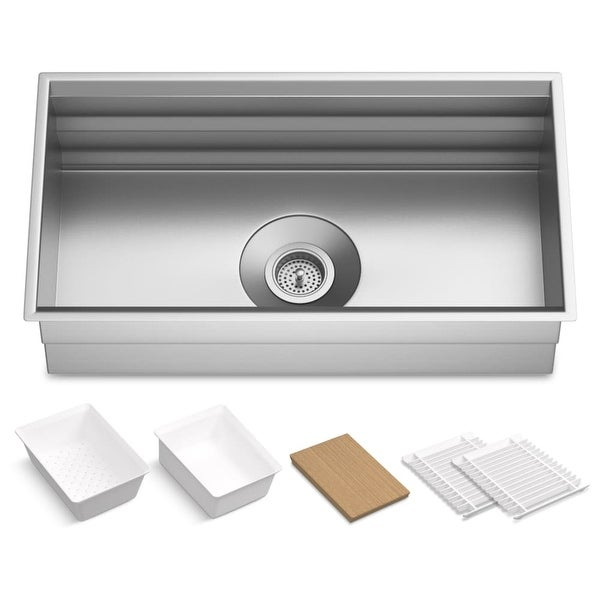"""Kohler K-5540 Prolific 33"""" Single Basin Undermount Kitchen Sink with Silent Shield� and Accessories - STAINLESS STEEL"""