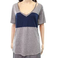 Socialite Gray Blue Women's Size Large L V-Neck Cutout Tee Knit Top