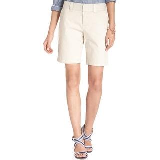 Tommy Hilfiger Womens Bermuda, Walking Shorts Twill Flat Front