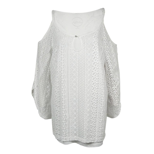 INC International Concepts Women's Lace Cold Shoulder Top