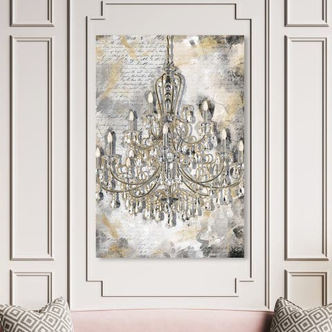 Oliver Gal 'Calligraphy Chandelier' Fashion and Glam Wall Art Canvas Print Chandeliers - Gold, Gray