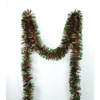 50' Shiny Green and Red Christmas Tinsel Garland - Unlit