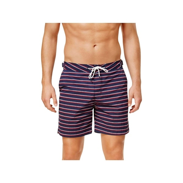 8aa72f4ae48d8 Shop Tommy Hilfiger Mens Striped Summer Swim Trunks Navy XL - Free Shipping  On Orders Over $45 - Overstock - 22582535