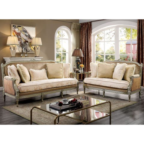 Furniture of America Zeth Traditional Champagne 2-piece Living Room Set