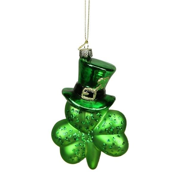 "5"" Luck of the Irish Green Top Hat Shamrock Leaf Glass Christmas Ornament"