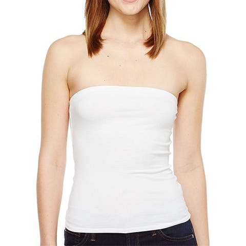 LaMade Womens Tube Top Bright White Size XS Stretch Solid Strapless