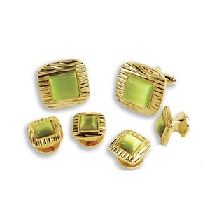 Decorative Square with Olive Center Cufflinks and Studs - Green