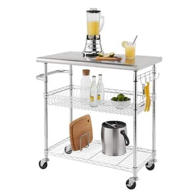 TRINITY EcoStorage® 34-inch Stainless Steel Kitchen Cart