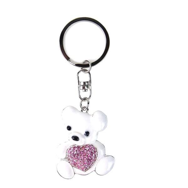 JAVOedge White Teddy Bear with Pink Gemstone Heart Stylish Keychain / Keyring for House, Car