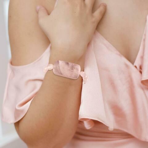 Natural Rose Quartz Stretch Bracelet Healing Gemstone Handmade Women Jewelry