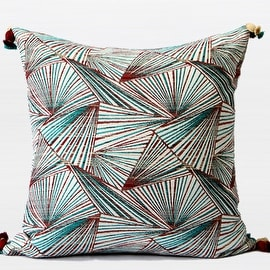 "G Home Collection Luxury Green Changing Geometric Pattern Tassels Pillow 20""X20"""