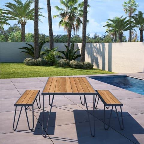 Novogratz Poolside Collection Paulette Outdoor Table and Bench Set
