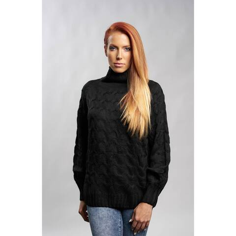 Black Cable Knit Turtleneck Sweater