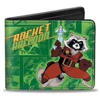 Marvel Comics Rocket Raccoon Pose Comics Scenes Greens Orange Yellow Bi Bi-Fold Wallet - One Size Fits most