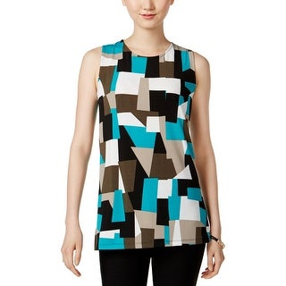 Kasper Womens Petites Pullover Top Jersey Printed - ps