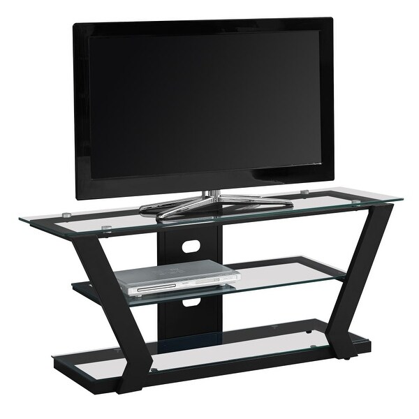 Monarch Specialties I 2588 48 Inch X 16 Inch Glass Top Metal TV Stand    Black