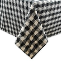"Black and White French Check Square Cotton Tablecloth 52"" x 52"""